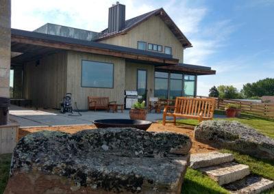 Boulders and Firepit Landscaping Design - Bozeman, Montana